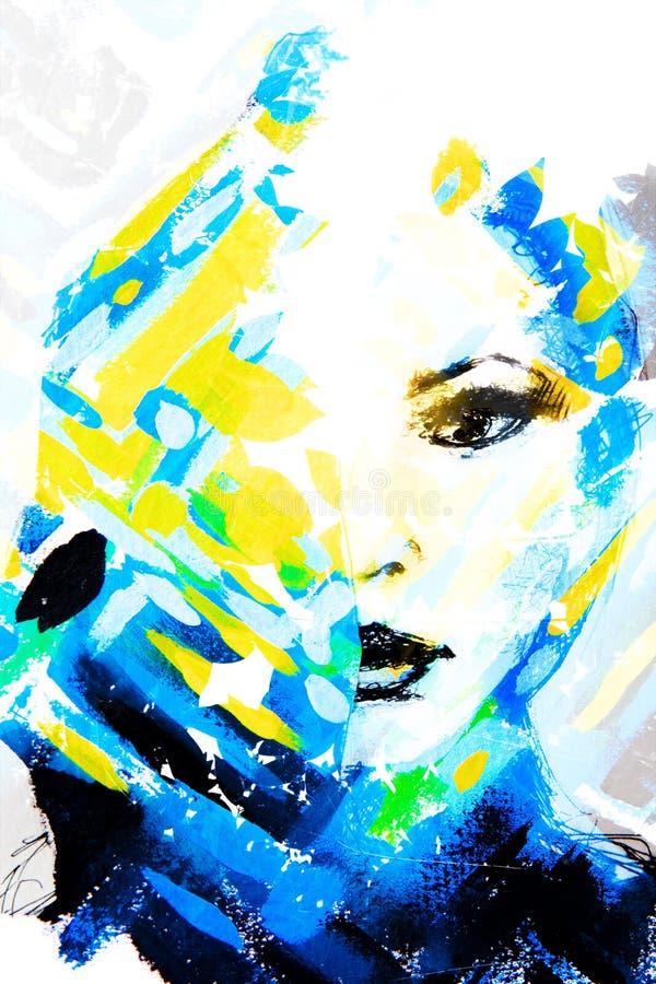 Gecombineerde met de hand gemaakte schilderijen van een verleidelijke vrouw en een glitzy gl vector illustratie