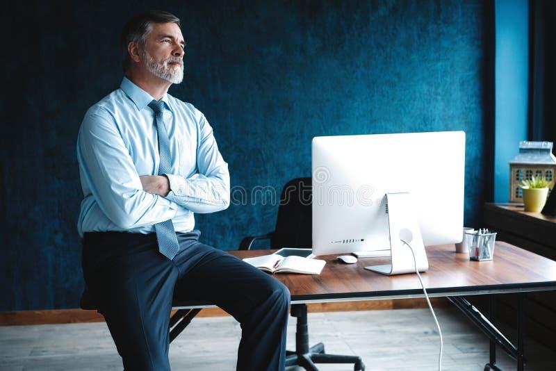 Geconcentreerd op het werk Geconcentreerde rijpe zakenman die en nota's in zijn modern bureau werken nemen stock foto's