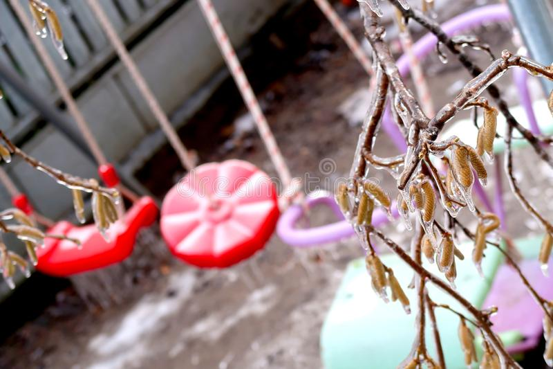 Geconcentreerde bevroren boom brench over vage schommeling voor kinderen in de winter royalty-vrije stock afbeelding