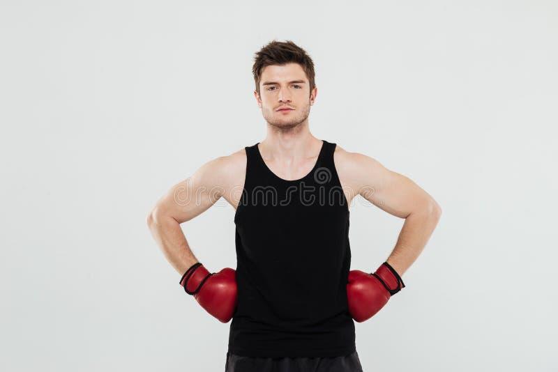 Geconcentreerde jonge sportmanbokser royalty-vrije stock foto's