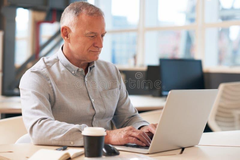 Geconcentreerde rijpe zakenman die aan laptop in een bureau werken stock foto's