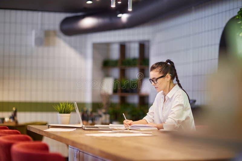 Geconcentreerde vrouw die met nota's en laptop werken stock foto