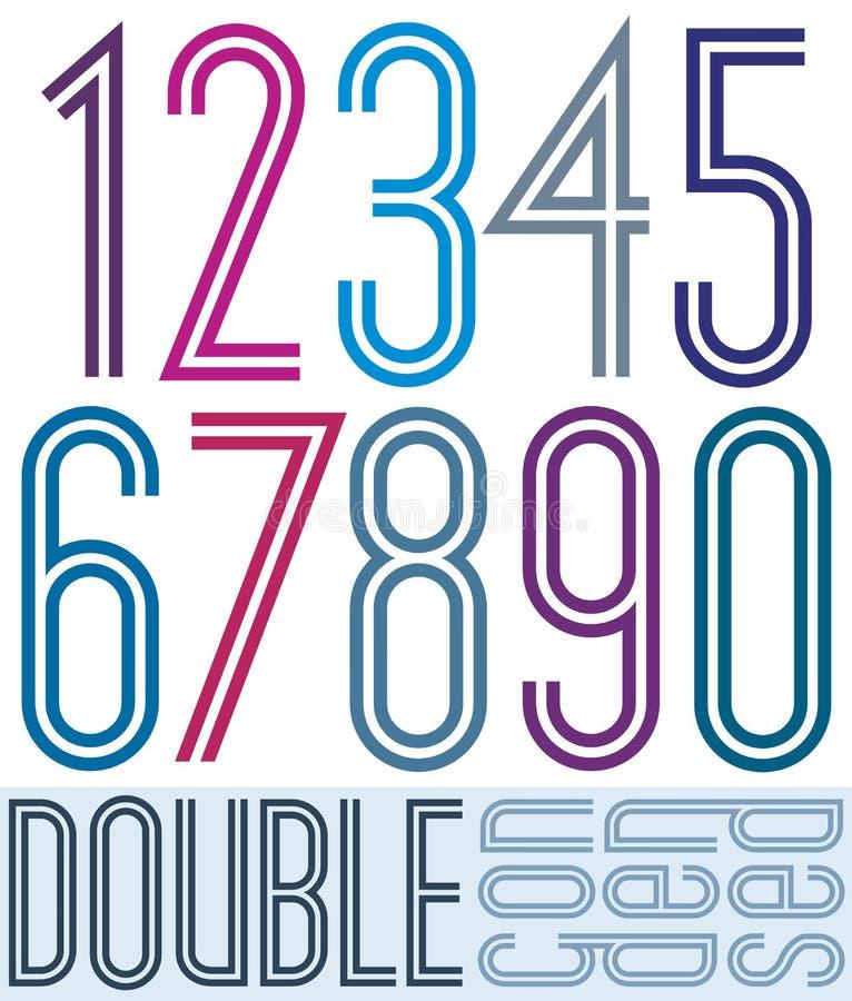 Gecondenseerde kleurrijke dubbele die aantallen op wit worden geïsoleerd vector illustratie