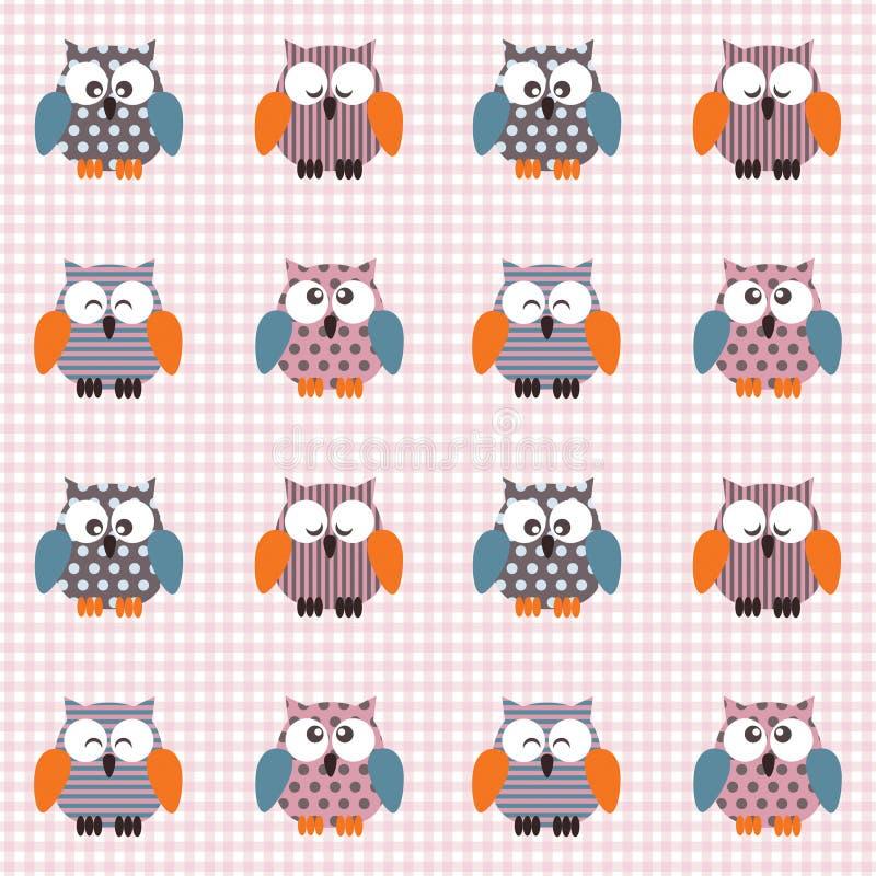 Gecontroleerd patroon met leuke uilen royalty-vrije stock foto