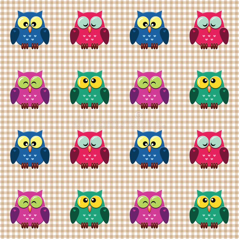 Gecontroleerd patroon met leuke uilen. royalty-vrije stock afbeelding