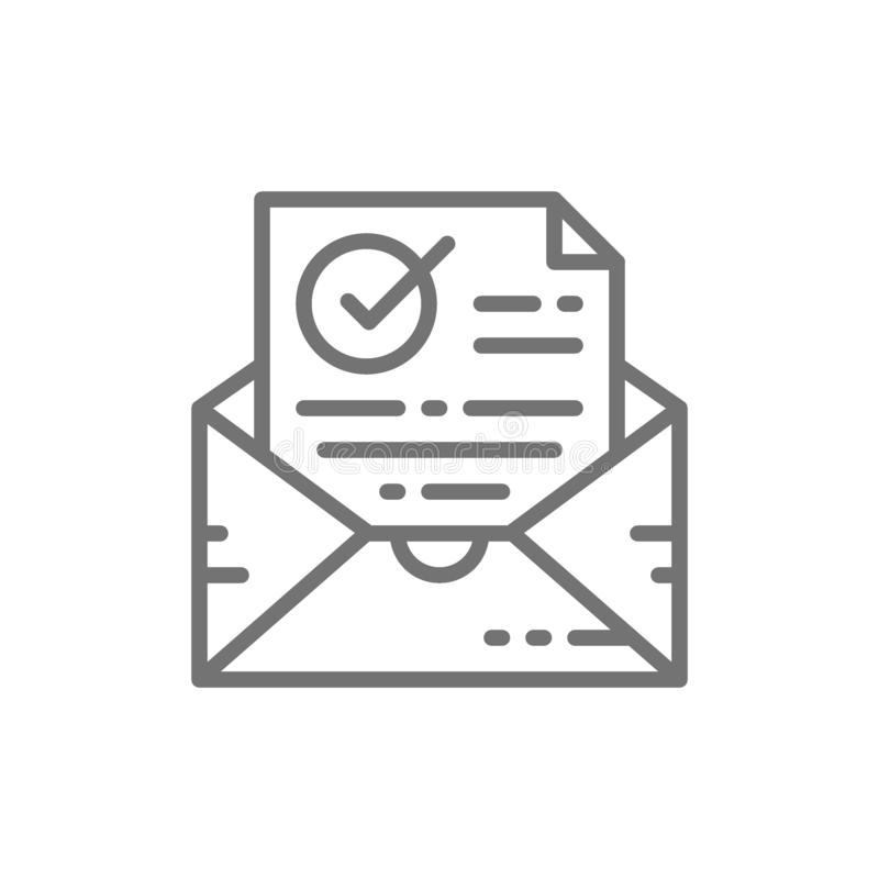 Gecontroleerde bevestigingsbrief, envelop met document en vinkje, succesvolle e-maillevering, het pictogram van de controlelijn stock illustratie