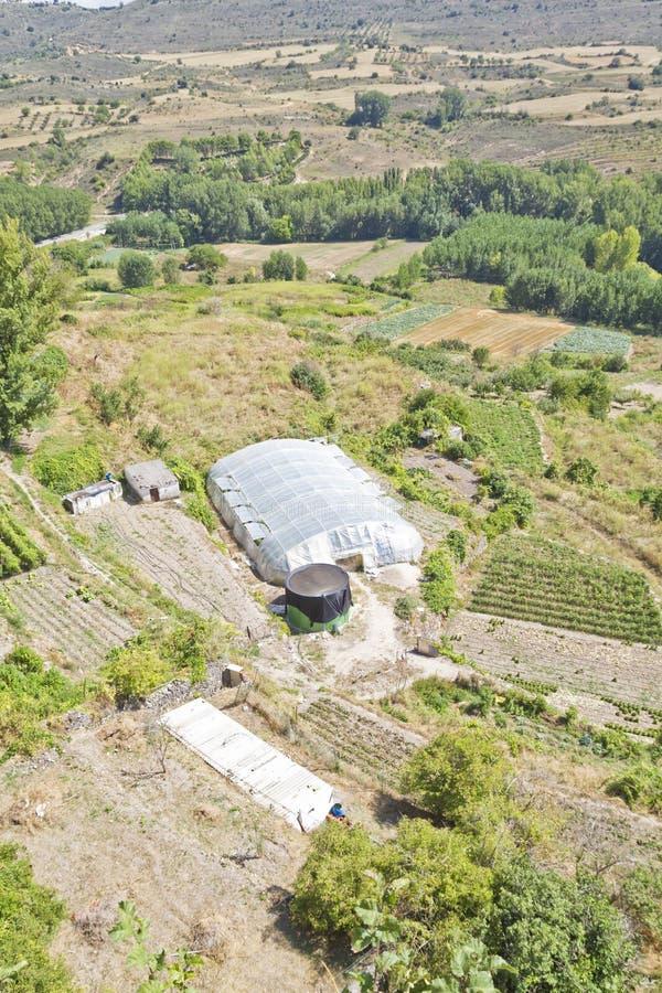 Gecultiveerd land in een landelijk landschap royalty-vrije stock foto's