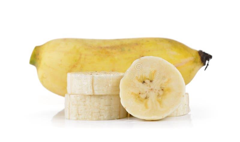 Gecultiveerde die banaan op witte achtergrond wordt geïsoleerd royalty-vrije stock afbeeldingen