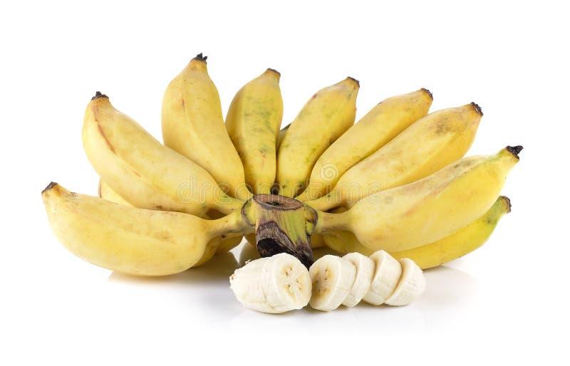 Gecultiveerde die banaan op witte achtergrond wordt geïsoleerd stock foto