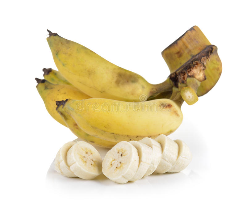 Gecultiveerde die banaan op witte achtergrond wordt geïsoleerd royalty-vrije stock fotografie