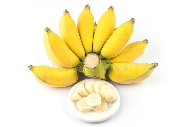 Gecultiveerde die banaan op witte achtergrond wordt ge?soleerd Rijpe gecultiveerde banaan royalty-vrije stock foto