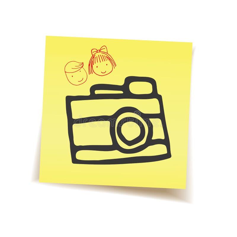 Gedächtnis durch Kamera auf Post-It stockbilder