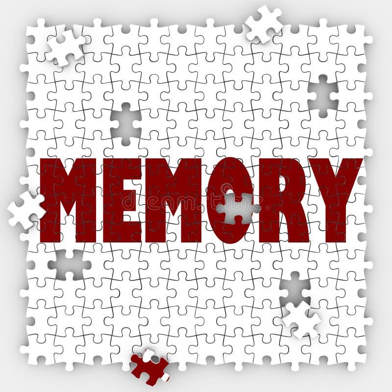 Gedächtnis-Wort-verlierende Fähigkeit erinnern sich an vergangene Ereignisse, Verstand bezüglich sich zu merken lizenzfreie abbildung