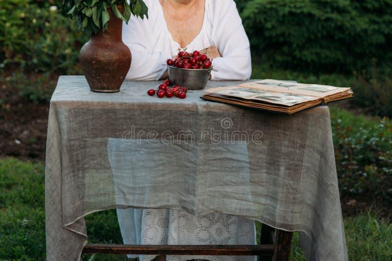 Gedächtnisse der älteren Personen Besuchsgroßmutter Großmutter, die in einem Stuhl im Garten sitzt und ein altes Album mit Fotos, lizenzfreie stockfotos