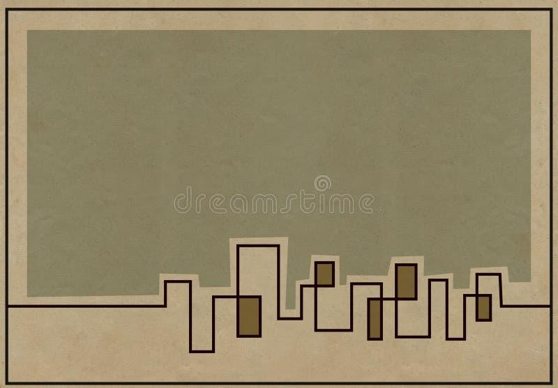 Gedämpfter Skylinehintergrund für Pläne stock abbildung