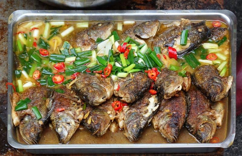 Gedünstete Fische mit Paprikas und Porrees stockfotografie