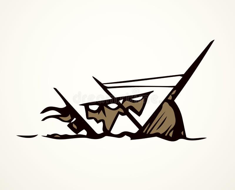 Gedaald schip Vector tekening stock illustratie