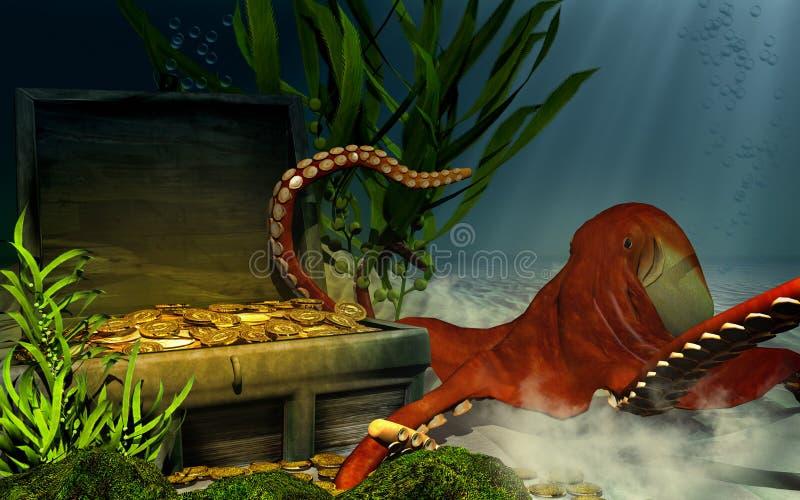 Gedaalde borst, schat en octopus vector illustratie