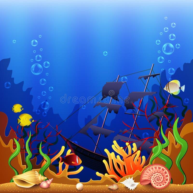 Gedaalde schip onderwatervector als achtergrond vector illustratie