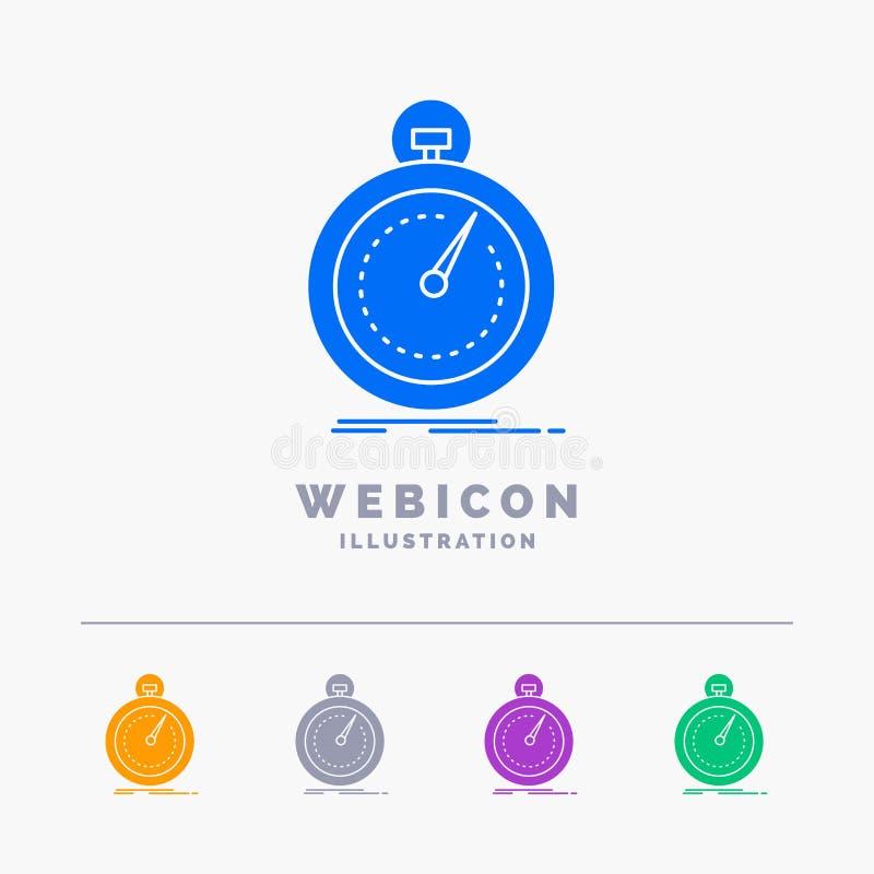 Gedaan die, snel, optimalisering, snelheid, sport 5 het Malplaatje van het het Webpictogram van Kleurenglyph op wit wordt geïsole vector illustratie