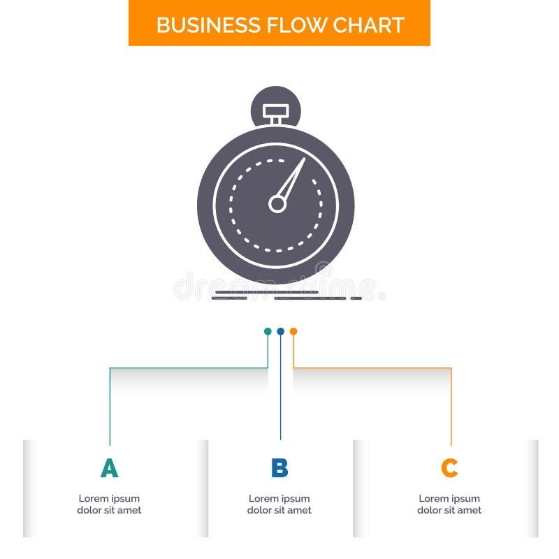 Gedaan, snel, optimalisering, snelheid, het Ontwerp sport van de Bedrijfsstroomgrafiek met 3 Stappen Glyphpictogram voor Presenta royalty-vrije illustratie