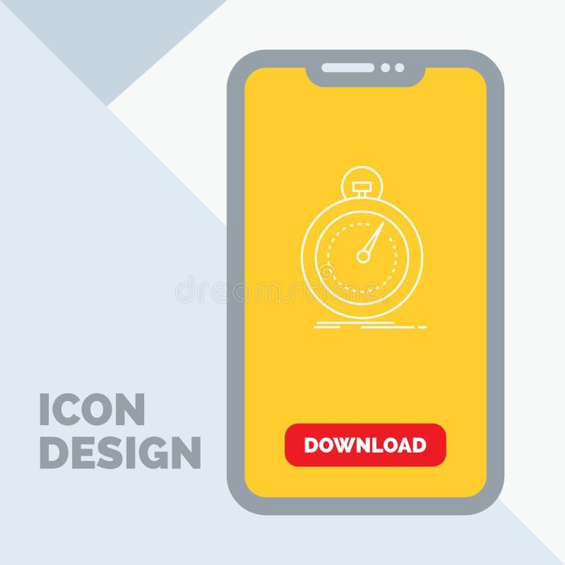 Gedaan, snel, optimalisering, snelheid, het Pictogram van de sportlijn in Mobiel voor Downloadpagina royalty-vrije illustratie