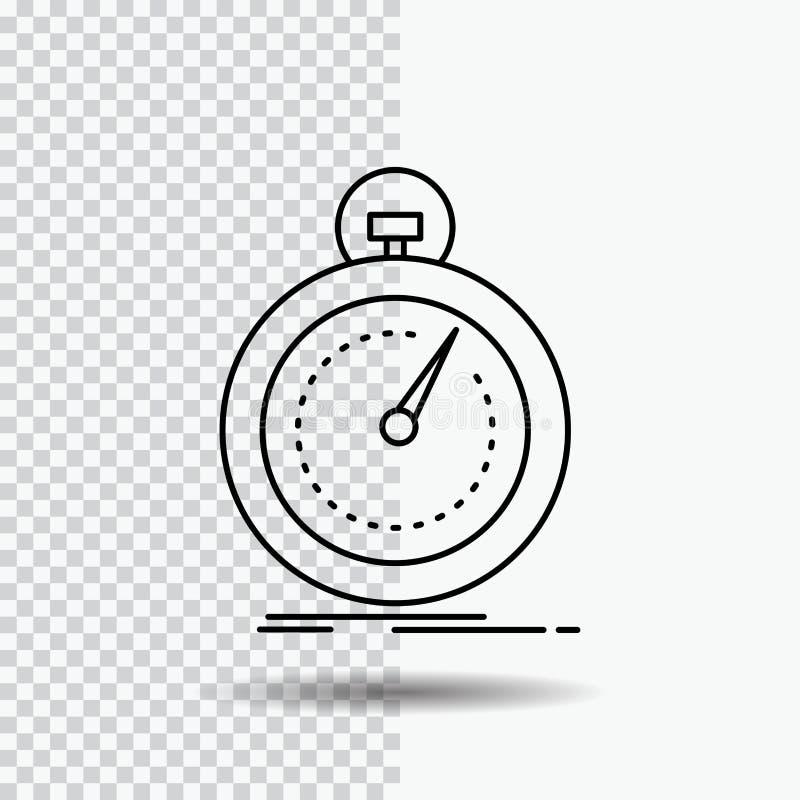 Gedaan, snel, optimalisering, snelheid, het Pictogram van de sportlijn op Transparante Achtergrond Zwarte pictogram vectorillustr stock illustratie