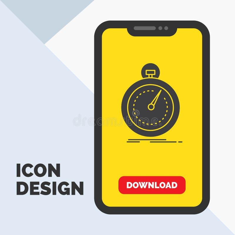 Gedaan, snel, optimalisering, snelheid, het Pictogram van sportglyph in Mobiel voor Downloadpagina Gele achtergrond stock illustratie