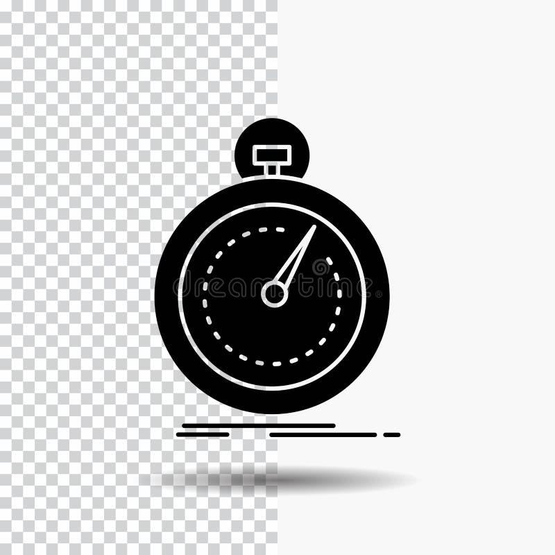 Gedaan, snel, optimalisering, snelheid, het Pictogram van sportglyph op Transparante Achtergrond Zwart pictogram stock illustratie
