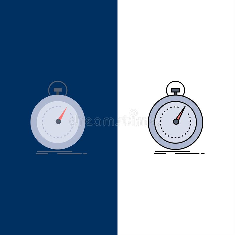 Gedaan, snel, optimalisering, snelheid, het Pictogramvector van de sport Vlakke Kleur vector illustratie