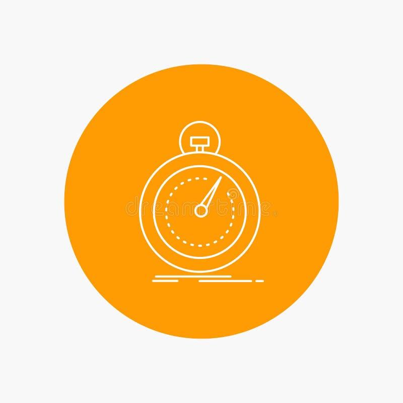 Gedaan, snel, optimalisering, snelheid, Pictogram van de sport het Witte Lijn op Cirkelachtergrond Vectorpictogramillustratie royalty-vrije illustratie