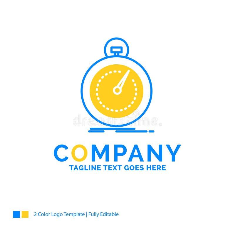 Gedaan, snel, optimalisering, snelheid, sport Blauw Geel Bedrijfsembleem vector illustratie