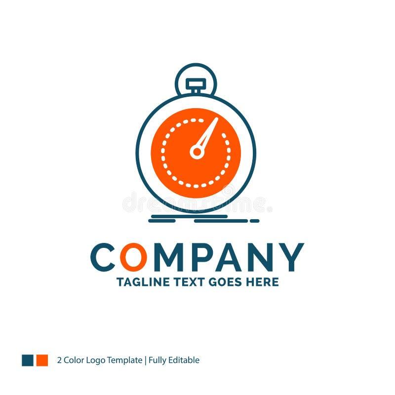 Gedaan, snel, optimalisering, snelheid, sport Logo Design Blauw en Ora stock illustratie