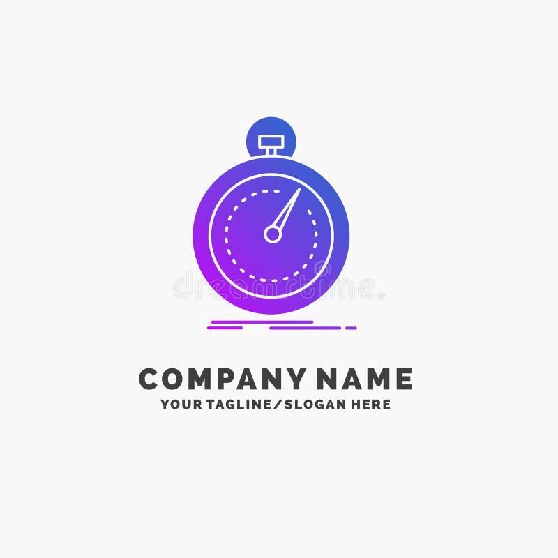 Gedaan, snel, optimalisering, snelheid, sport Purpere Zaken Logo Template Plaats voor Tagline royalty-vrije illustratie