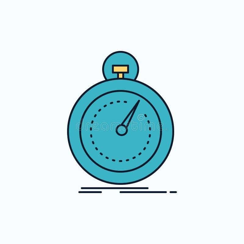 Gedaan, snel, optimalisering, snelheid, sport Vlak Pictogram groene en Gele teken en symbolen voor website en Mobiele appliation  vector illustratie