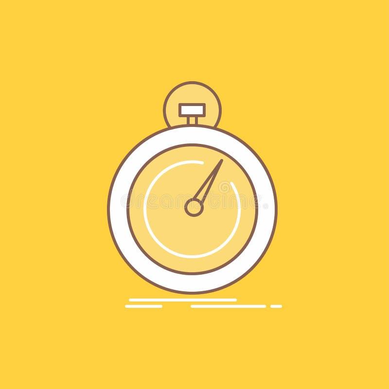 Gedaan, snel, optimalisering, snelheid, sport Vlakke Lijn vulde Pictogram Mooie Embleemknoop over gele achtergrond voor UI en UX, royalty-vrije illustratie