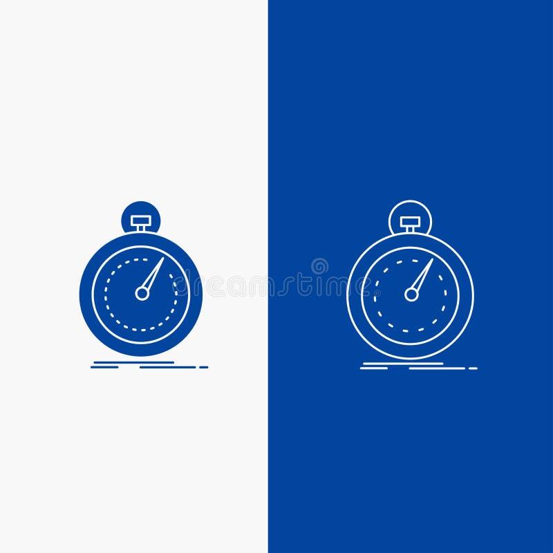 Gedaan, snel, optimalisering, snelheid, sportlijn en Glyph-Webknoop in Blauwe kleuren Verticale Banner voor UI en UX, website of  stock illustratie