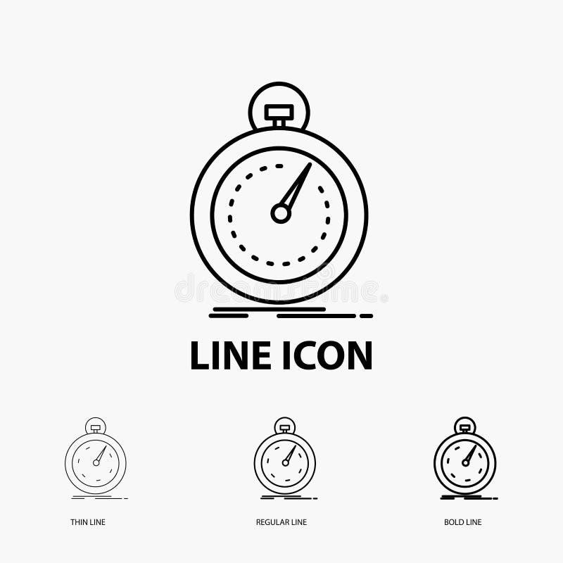 Gedaan, snel, optimalisering, snelheid, sportpictogram in Dunne, Regelmatige en Gewaagde Lijnstijl Vector illustratie stock illustratie