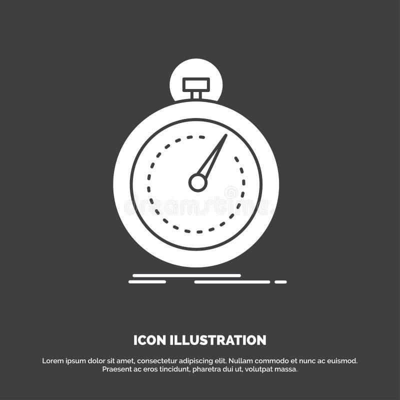 Gedaan, snel, optimalisering, snelheid, sportpictogram glyph vectorsymbool voor UI en UX, website of mobiele toepassing royalty-vrije illustratie