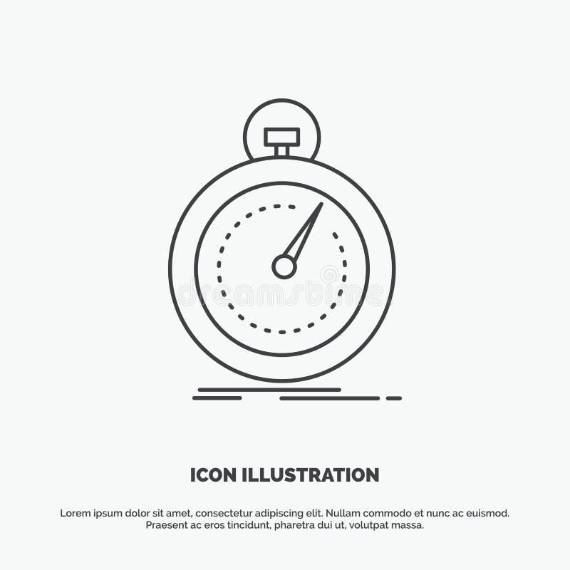 Gedaan, snel, optimalisering, snelheid, sportpictogram Lijn vector grijs symbool voor UI en UX, website of mobiele toepassing stock illustratie