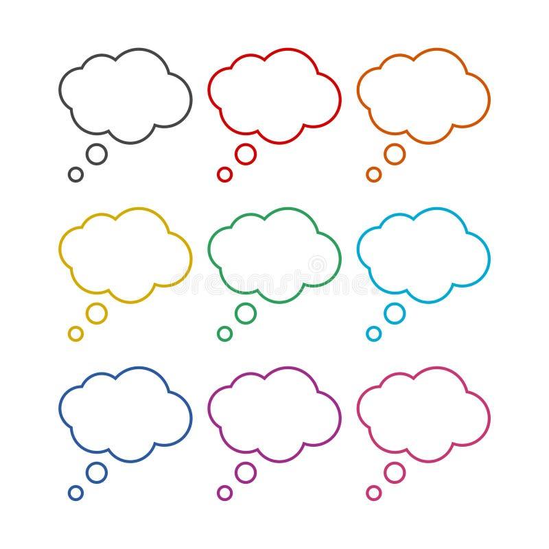 Gedachte wolk, Gedacht wolkenpictogram of embleem, kleurenreeks vector illustratie