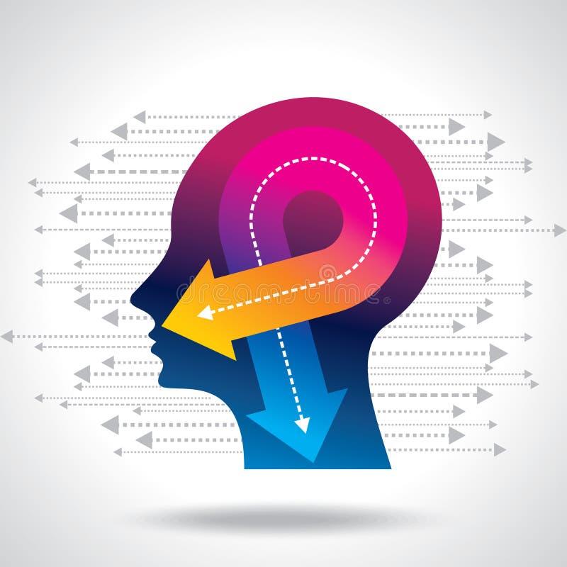 Gedachten en opties Vectorillustratie van hoofd met pijlen vector illustratie
