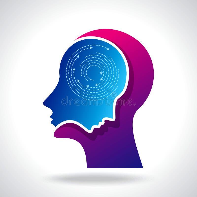 Gedachten en opties Vectorillustratie van hoofd met pijlen stock illustratie
