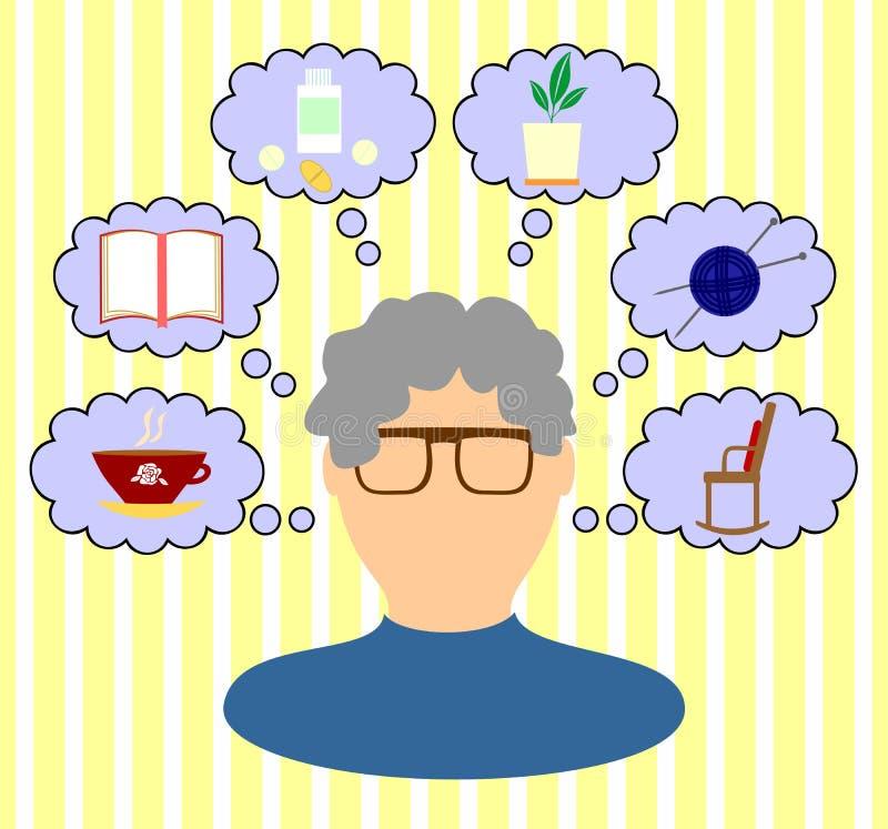 Gedachten oude vrouw vector illustratie