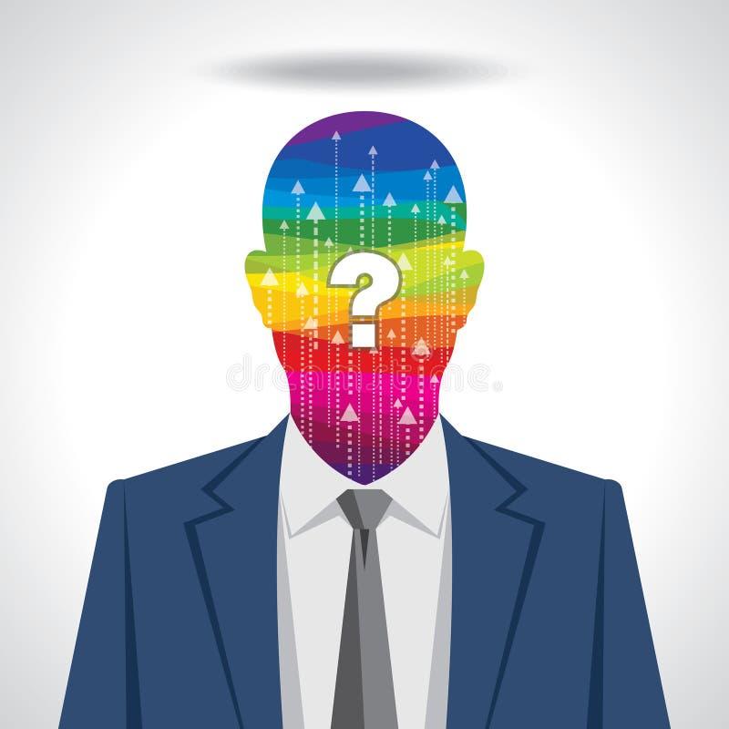 Gedanken und Optionen Vektorillustration des Kopfes mit Pfeilen lizenzfreie abbildung