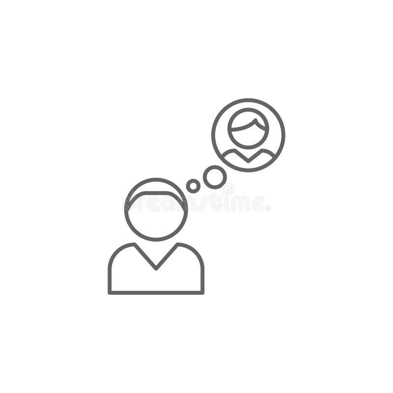 Gedankenfreundschafts-Entwurfsikone Elemente der Freundschaftslinie Ikone Zeichen, Symbole und Vektoren können für Netz, Logo, Mo stock abbildung