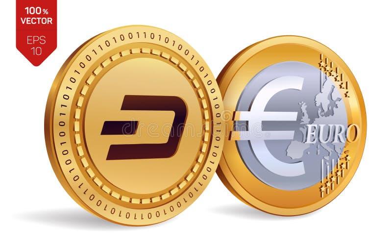 gedankenstrich Euro isometrische körperliche Münzen 3D Digital-Währung Cryptocurrency Goldene Münzen mit Schlag- und Eurosymbol l vektor abbildung