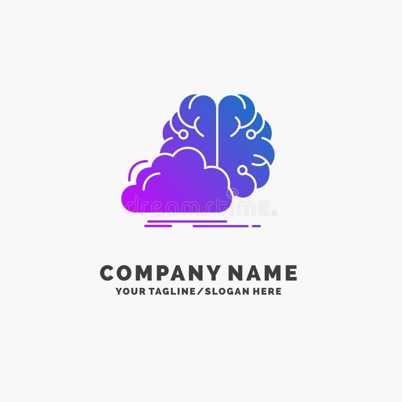 Gedanklich lösen, kreativ, Idee, Innovation, Inspiration purpurrotes Geschäft Logo Template Platz f?r Tagline stock abbildung