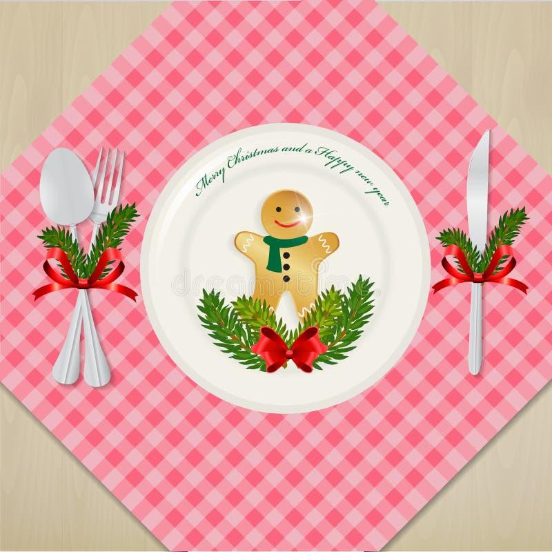 Gedeck für Abendessen Weihnachten vektor abbildung