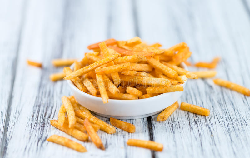 Gedeelte aardappelstokken stock afbeelding
